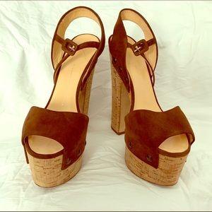 Brown Suede Giuseppe Zanotti platform sandals.